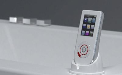 Badkamer speaker muziek in de badkamer of tuin met de for Designradios badezimmer